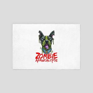 Zombie Dog French Bulldog APAWCALYPSE 4' x 6' Rug
