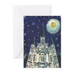 Starry Night Cathedral Happy Holliday Cards ( 6)