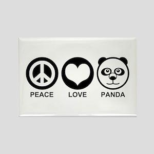 Peace Love Panda Rectangle Magnet