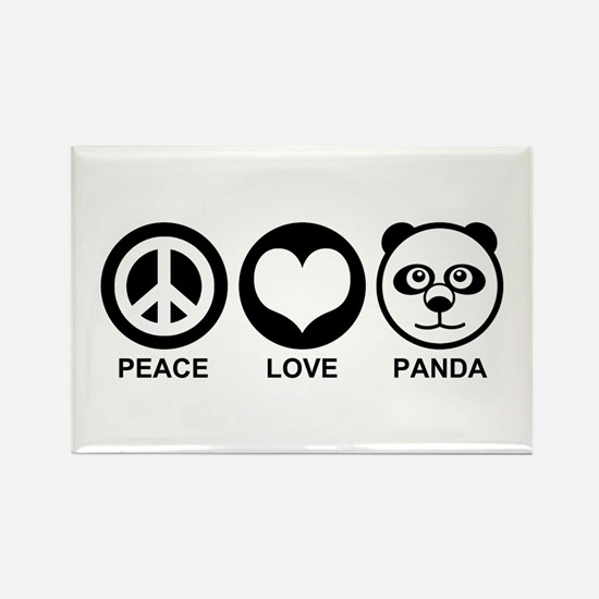 Peace Love Panda Rectangle Magnet