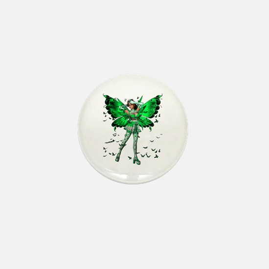 Butterfly Kisses Emerald Mini Button