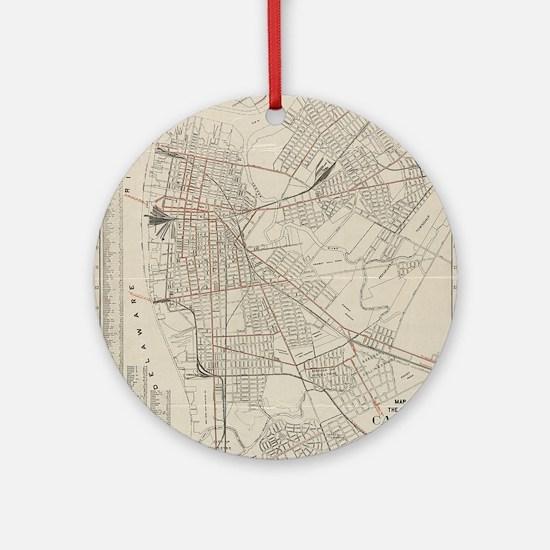 Vintage Map of Camden NJ (1921) Round Ornament