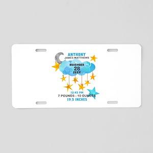 Baby Boy Birth Stats Stars Aluminum License Plate