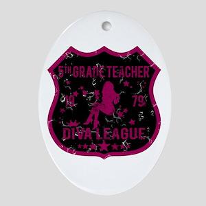 5th Grade Teacher Diva League Oval Ornament