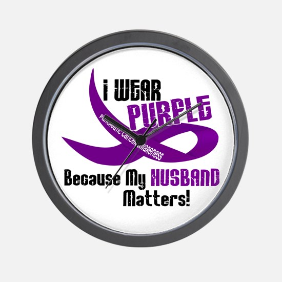 I Wear Purple For My Husband 33 PC Wall Clock