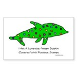 Stamp-covered green dolphin Rectangle Sticker