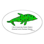 Stamp-covered green dolphin Oval Sticker
