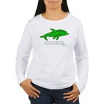 Stamp-covered green dolphin Women's Long Sleeve T-