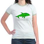 Stamp-covered green dolphin Jr. Ringer T-Shirt