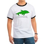 Stamp-covered green dolphin Ringer T