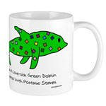Stamp-covered green dolphin Mug