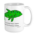 Stamp-covered green dolphin Large Mug