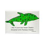 Stamp-covered green dolphin Rectangle Magnet