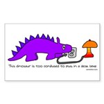 Confused Dinosaur Rectangle Sticker