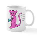 Pink kangaroo eating yogurt Mug