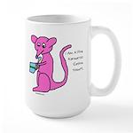 Pink kangaroo eating yogurt Large Mug