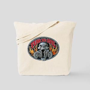 Fear No Evil Skull and Flames Tote Bag