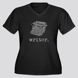 Type-Writer Women's Plus Size V-Neck Dark T-Shirt