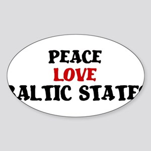 Peace Love Baltic States Oval Sticker