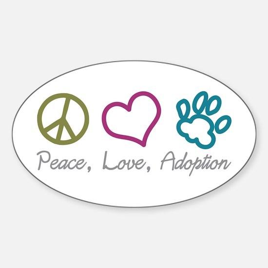 Peace, Love, Adoption Oval Decal