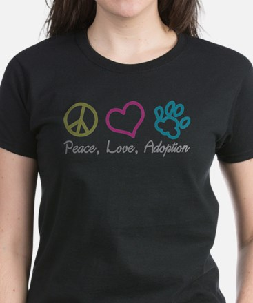Peace, Love, Adoption Women's Dark T-Shirt