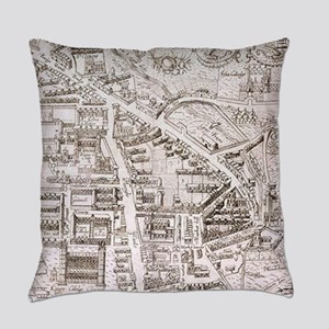 Vintage Map of Cambridge England ( Everyday Pillow