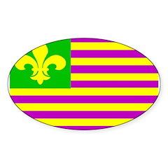 Mardi Gras Flag Oval Decal