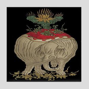 Decorated Asian Elephant Tile Coaster