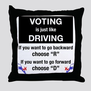 Voting/Driving Throw Pillow