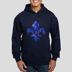 Blue Mosaic Fleur Hoodie (dark)