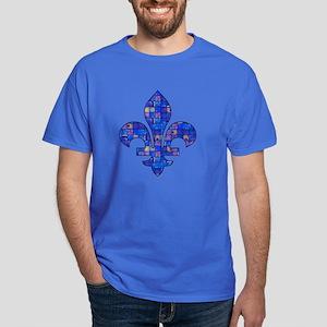 Blue Mosaic Fleur Dark T-Shirt