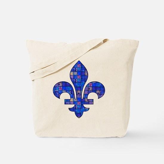 Blue Mosaic Fleur Tote Bag