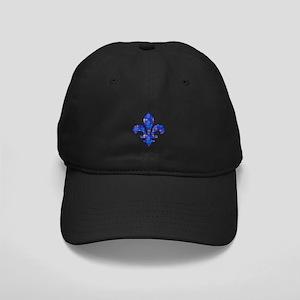 Blue Mosaic Fleur Black Cap