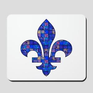 Blue Mosaic Fleur Mousepad