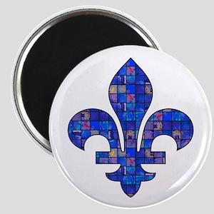 Blue Mosaic Fleur Magnet