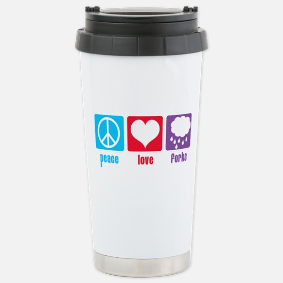Peace Love Forks Stainless Steel Travel Mug