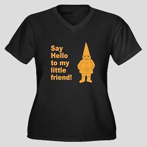Say Hello Women's Plus Size V-Neck Dark T-Shirt