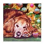 Golden Retriever Christmas Tile Coaster