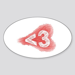 Less Than Three - Oval Sticker