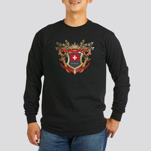 Swiss flag emblem Long Sleeve Dark T-Shirt