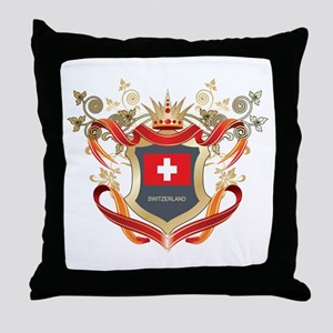 Swiss flag emblem Throw Pillow