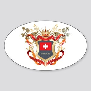 Swiss flag emblem Oval Sticker
