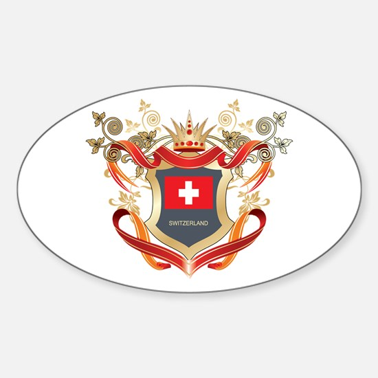 Swiss flag emblem Oval Decal