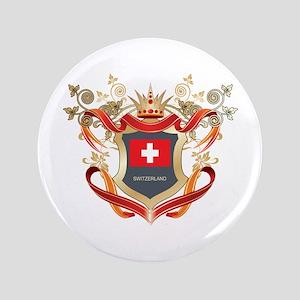 """Swiss flag emblem 3.5"""" Button"""