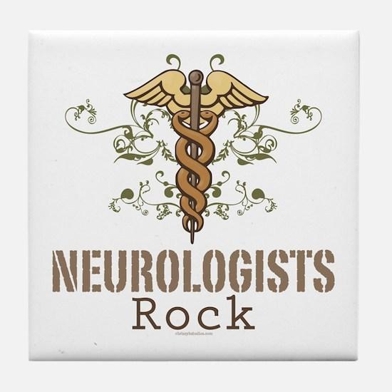 Neurologists Rock Caduceus Tile Coaster