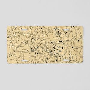 Vintage Map of Cambridge Ma Aluminum License Plate