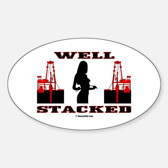 Well Stacked Oval Sticker Oil Well, Oil Rig, Gas