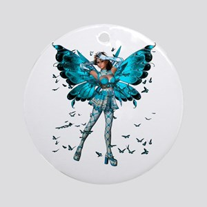 Butterfly Kisses Blue Topaz Ornament (Round)