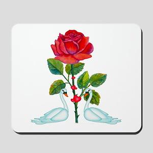Romantic Valentine Swans Mousepad