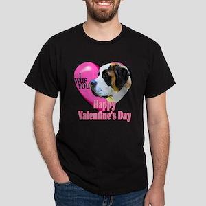 Saint Bernard Valentines Dark T-Shirt